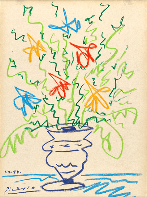 Pot of Flowers II, 1958, is a crayon drawing by Pablo Picasso.