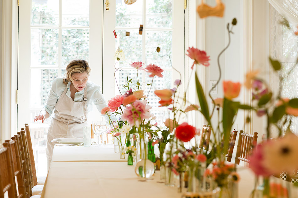 vases of flowers on table