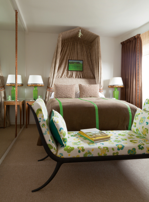 tan and green bedroom