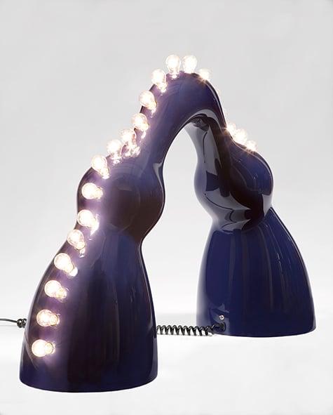 Wendell Castle Raquel floor lamp in dark blue auto body paint
