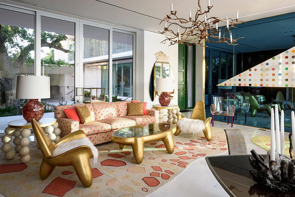 George Lindeman's Miami living room, designed by Frank de Biasi
