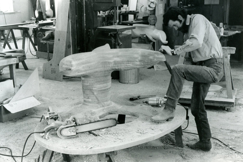 Wendell Castle working in his Scottsville, New York, studio, ca. 1970/71