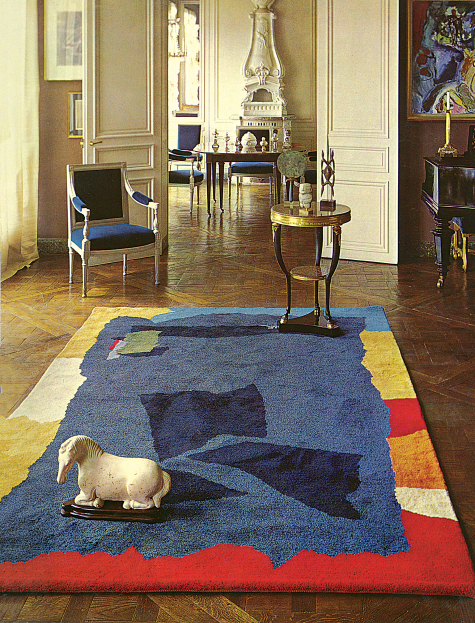 colorful rug in Henri Samuel's Paris living room