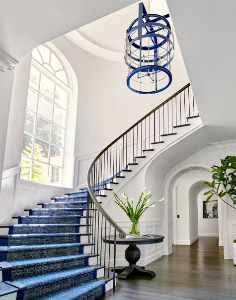 Los Angeles entryway with blue staircase