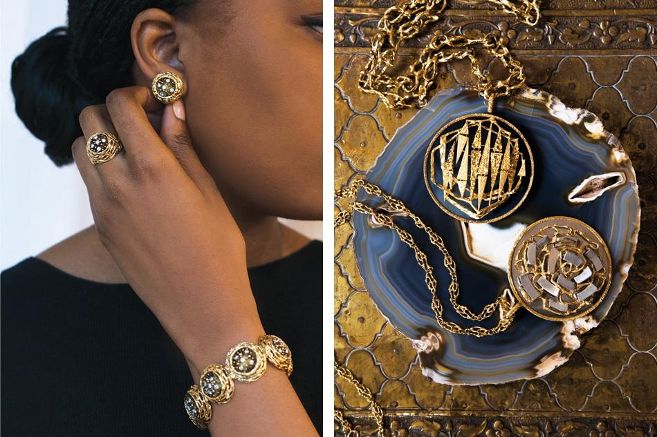 8-karat gold bracelet, earring and ring set by David Thomas, modernist Kutchinsky pendants