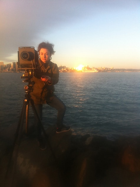 Jade Doskow with her Arca Swiss 4x5 view camera.