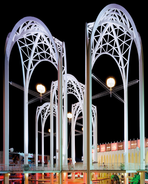 """Seattle 1962 World's Fair, """"Jade Doskow, Century 21 Exposition,"""" Science Center Arches at Night, 2014"""