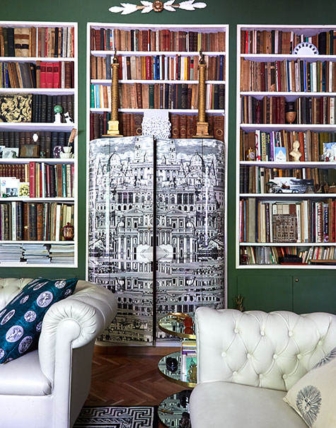 Barnaba Fornasetti's green living room