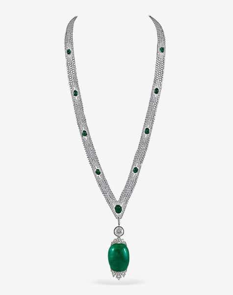 Art Deco platinum and diamond sautoir necklace with a cabochon emerald