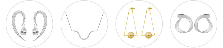 Liv Luttrell'sFull Liv Luttrell Curve earrings, Contour necklace, Kinetic earrings and Twist hoop earrings