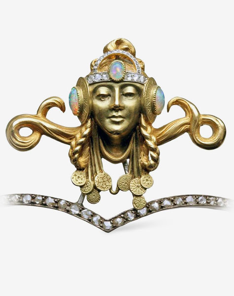 Art Nouveau Opal Diamond Gold Byzantine Princess Diadem Tiara