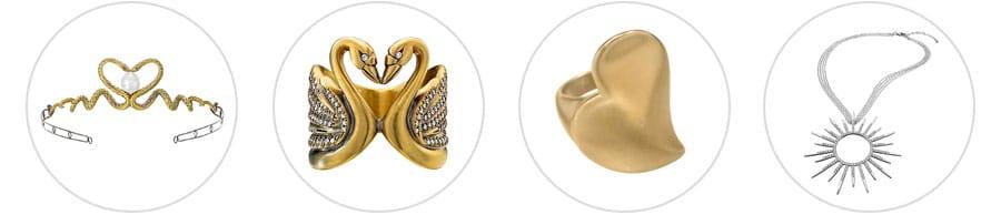 Wendy Brandes snake tiara, kissing swan ring,slanted heart ring and starburst necklace