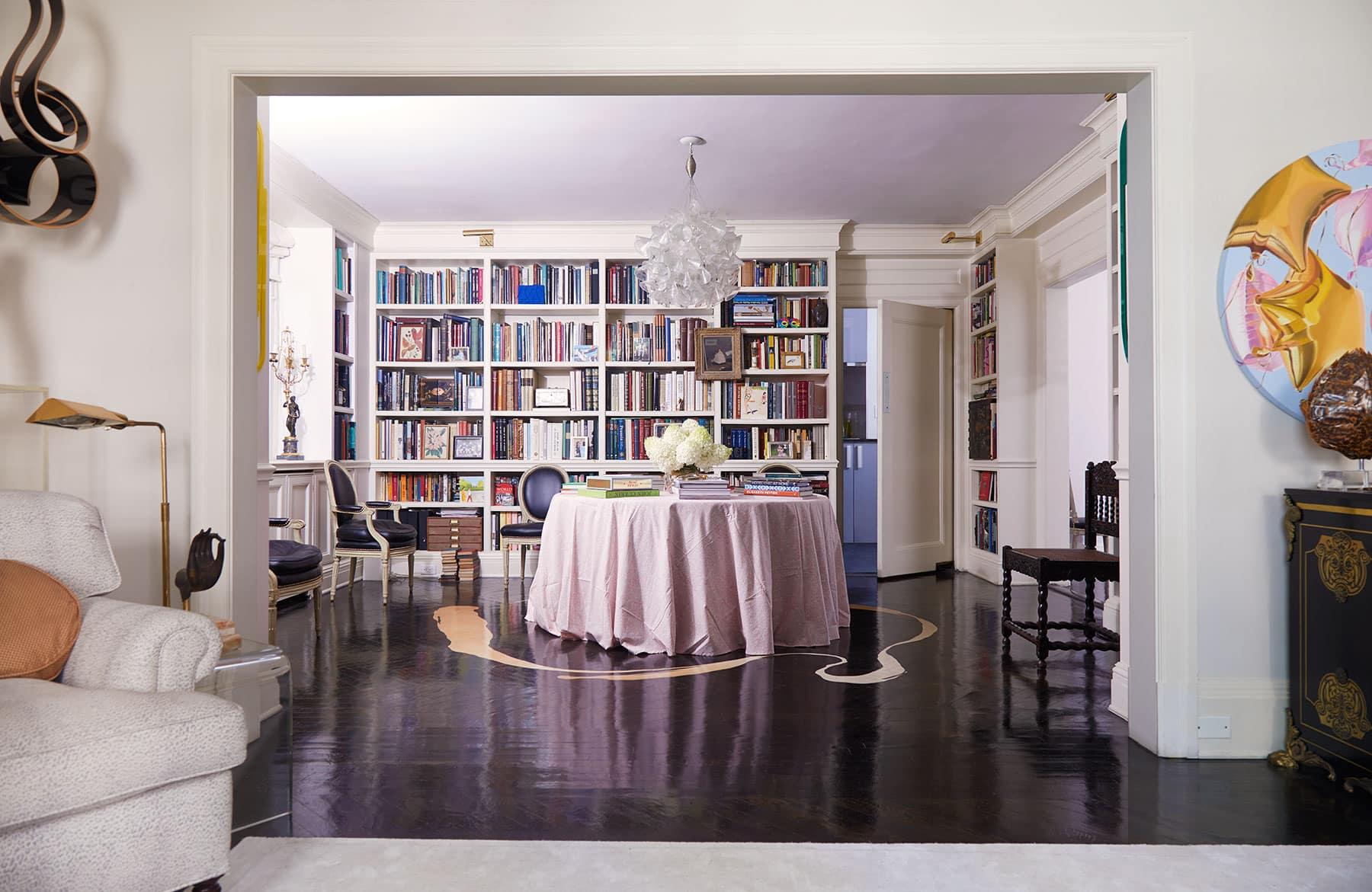 Blair Voltz Clarke and Alistair Clarke New York apartment library