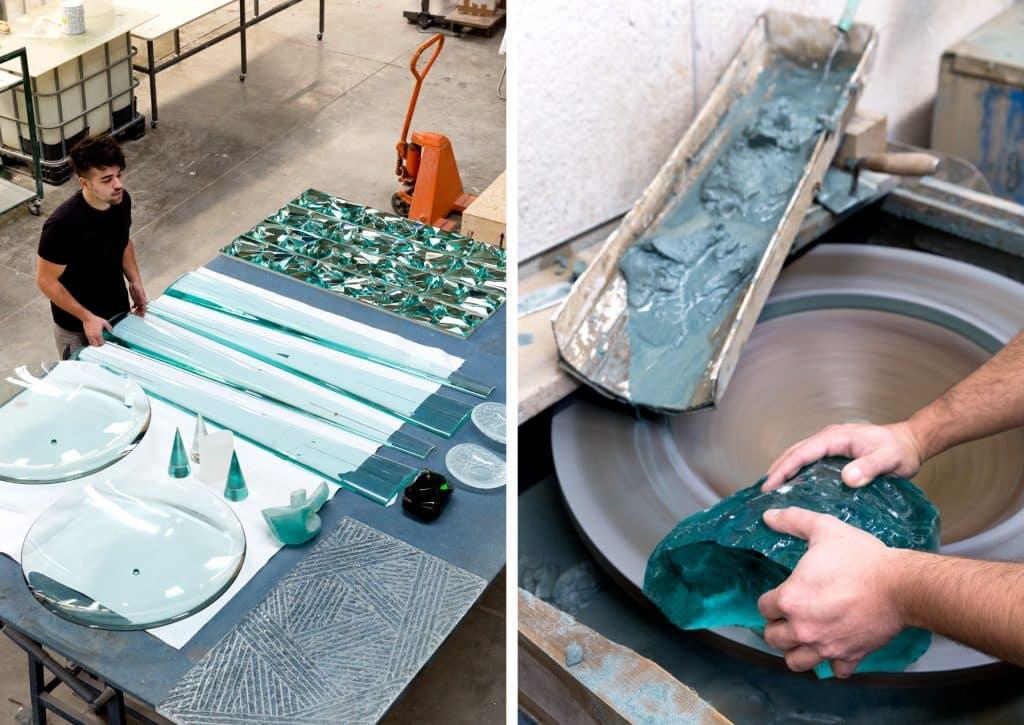 Domenico Ghiro works on glass pieces at Ghiro Studio