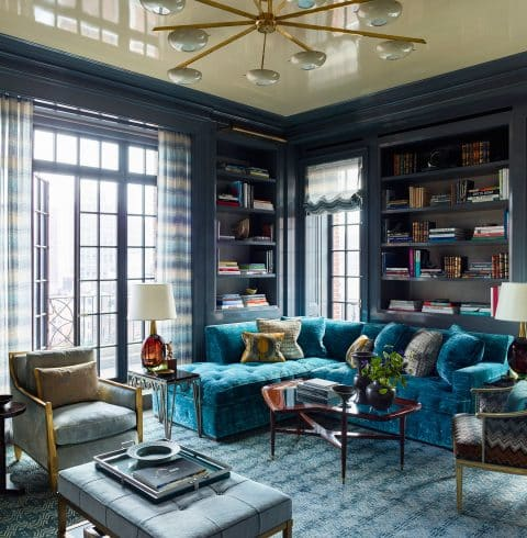 blue lacquered library by Steven Gambrel