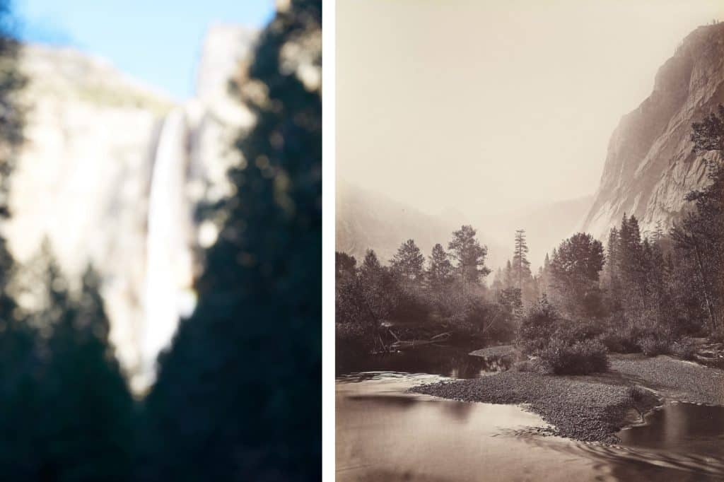 Untitled #1 (Yosemite Valley), 2015, by Catherine Opie and Mount Starr King and GlacierPoint, Yosemite, No. 69, by Carleton E. Watkins