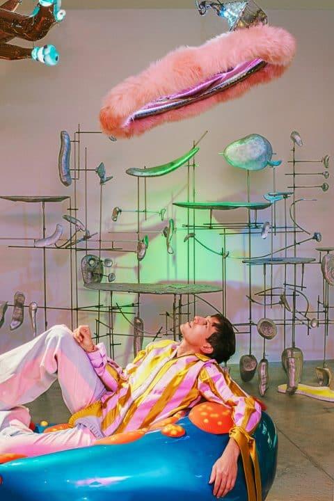 "Misha Kahn at his 2017 exhibition ""Midden Heap,"" at Friedman Benda Gallery"