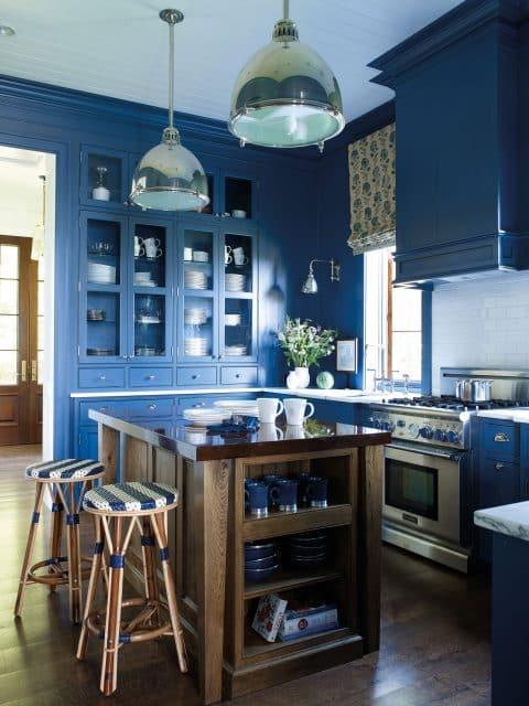 Suzanne Kasler designed blue kitchen