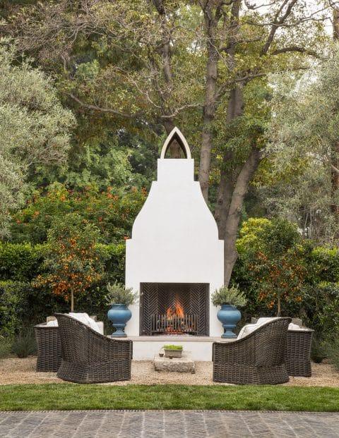 Beverly Hills garden with fireplace by Scott Shrader