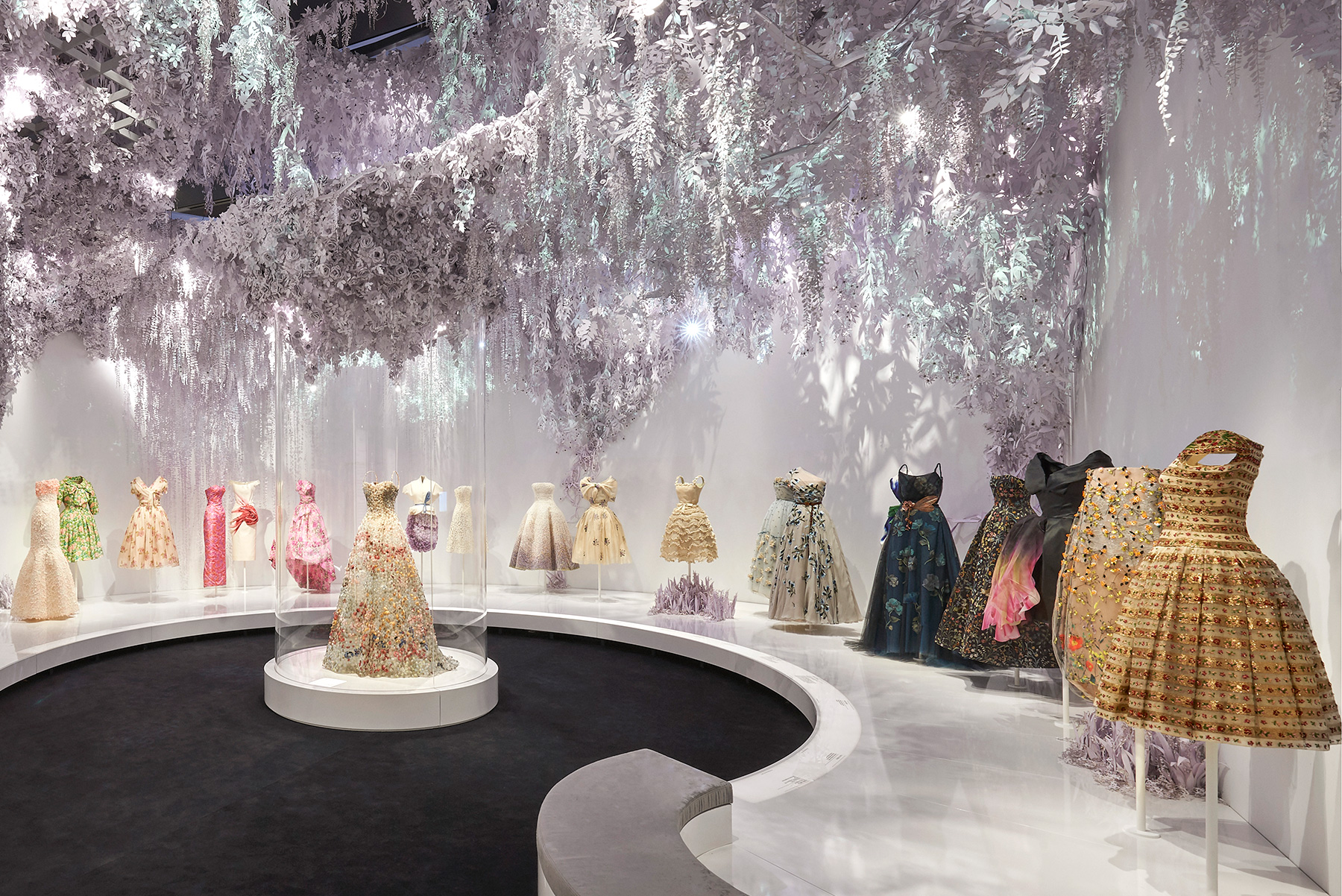 """The Garden section in the exhibition """"Christian Dior: Designer of Dreams"""" at London's Victoria and Albert Museum"""