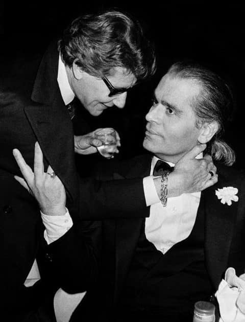 Yves Saint Laurent and Karl Lagerfeld, 1983, by Roxanne Lowit