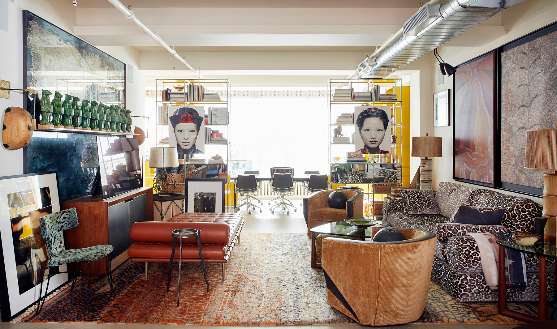 Interior designer Drew McGukin New York loft living room