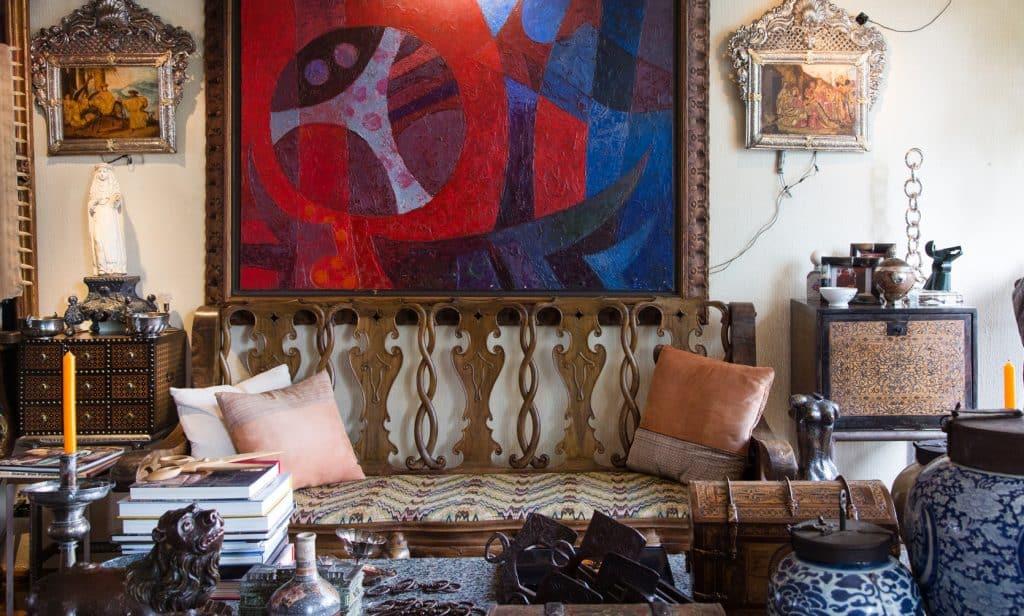 The living room of Rodrigo Rivero Lake's apartment and showroom