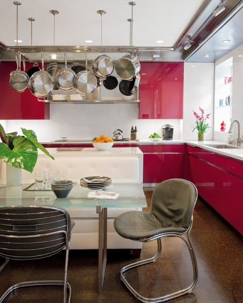 Bunny Williams Love Affairs with Houses Abrams New York City pied-à-terre red kitchen