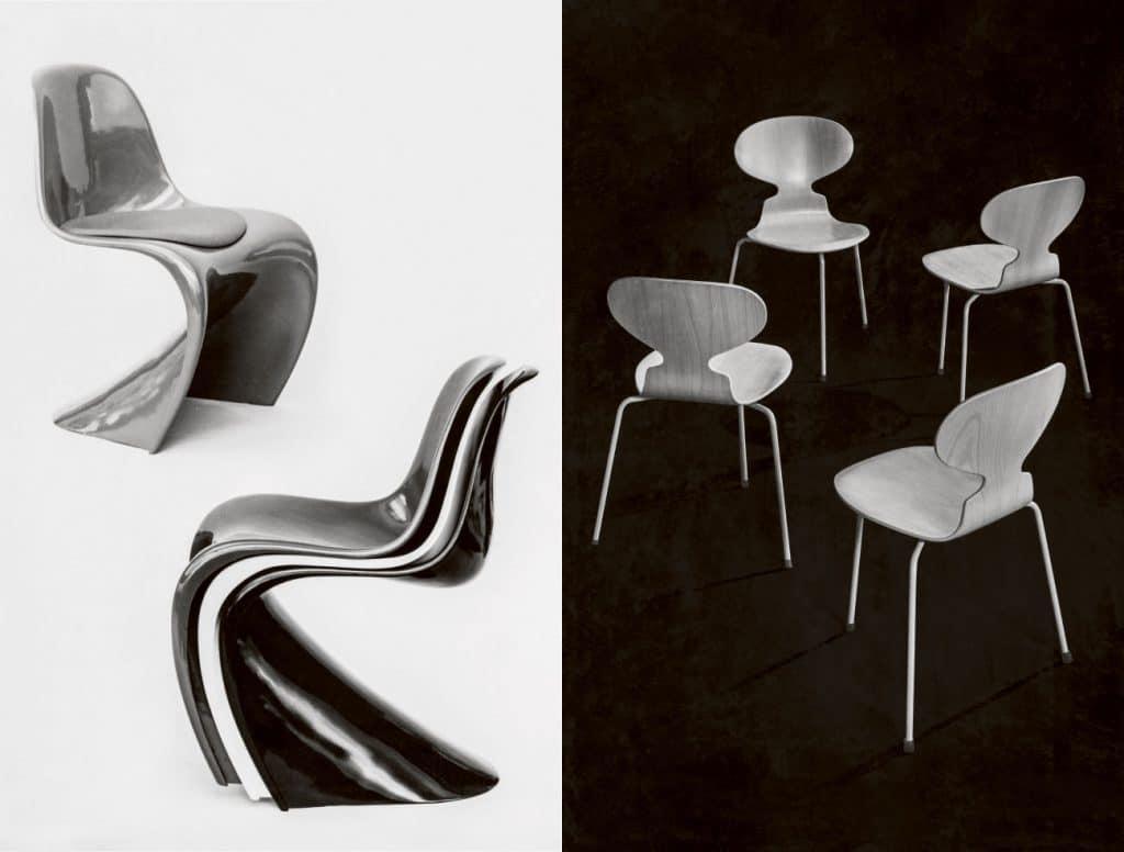 Left: Verner Panton Panton Chair, right: Arne Jacobsen The Ant Chair