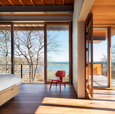 Views from the Master Bedroom of the Shelter Island home, designed by Peter Bohlin and BCJ