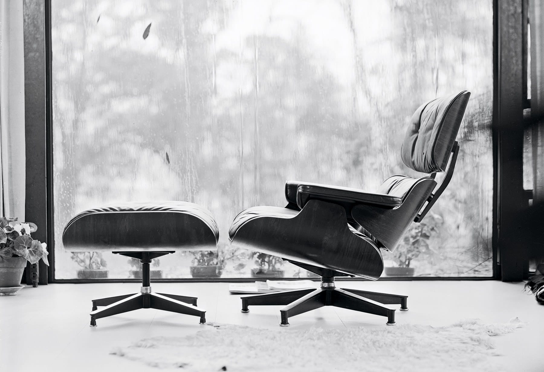 Vintage Photo of an Eames lounge chair and ottoman