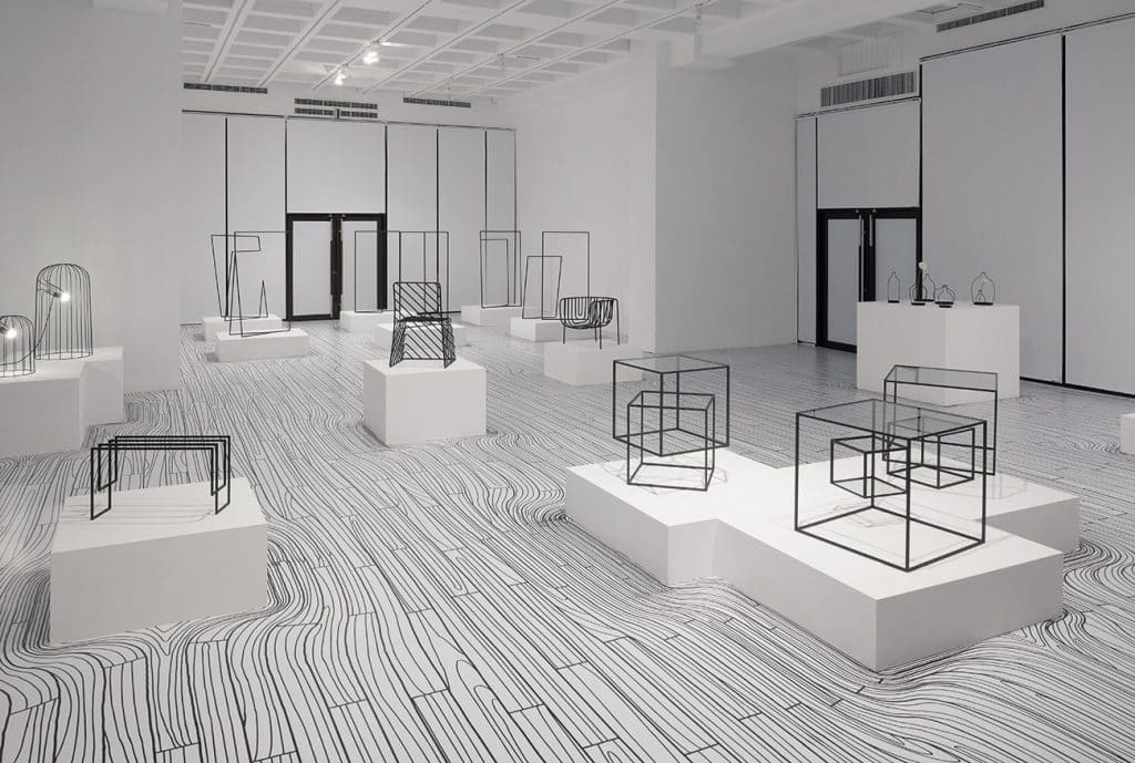 Nendo's 2010 Thin Black Lines collection displayed at the National Taiwan Craft Research and Development Institute
