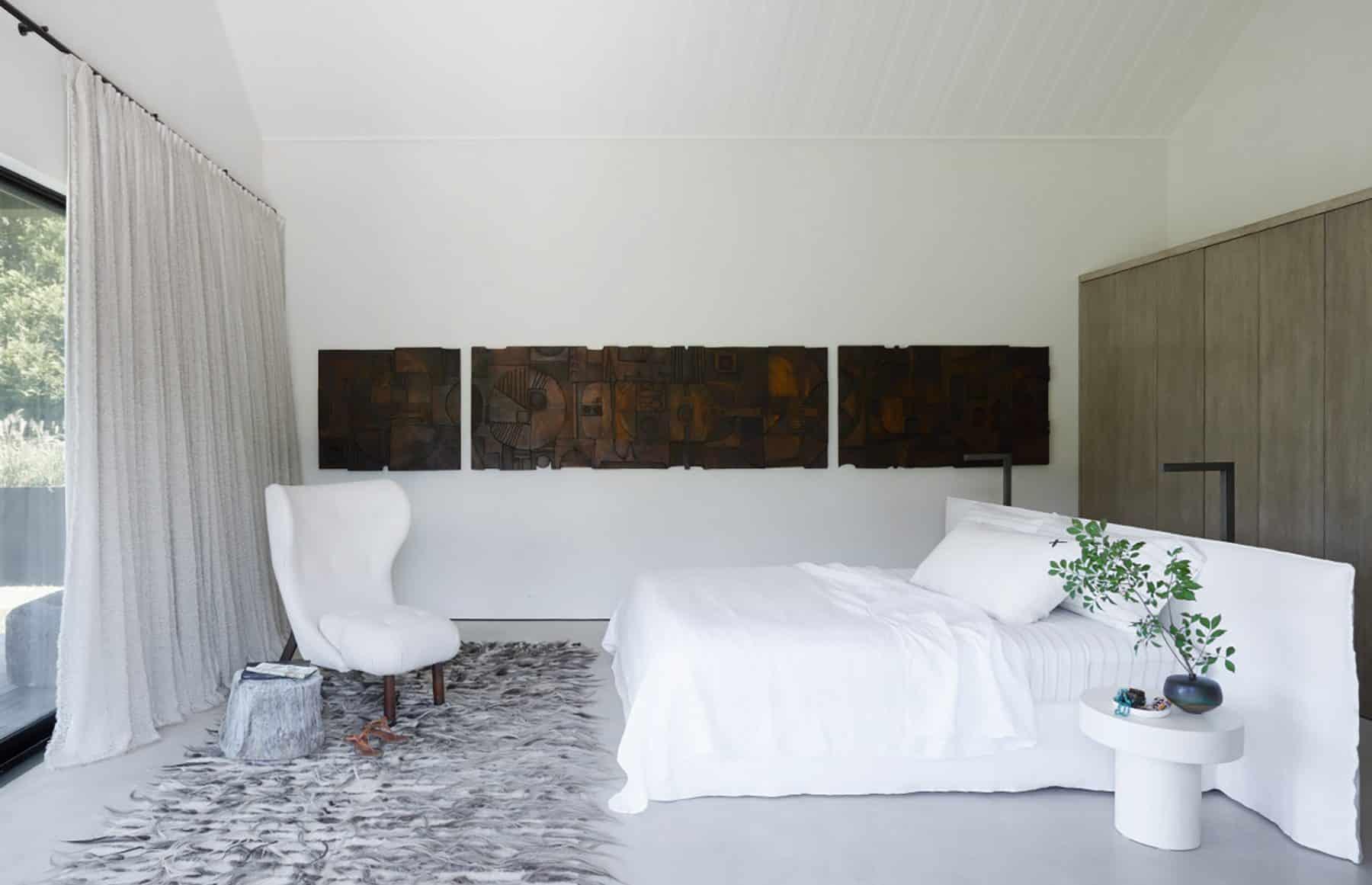 The master bedroom in Michael Del Piero's Amagansett, New York, home