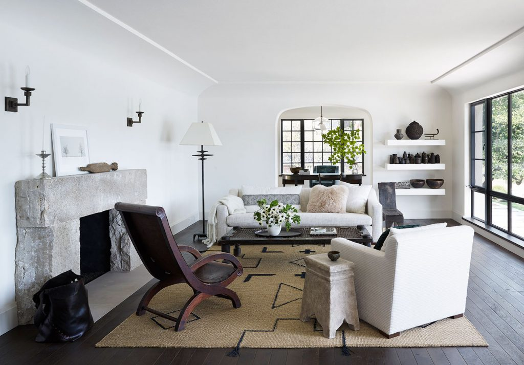 The living room of a Michael Del Piero–designed home in Fond du Lac, Wisconsin