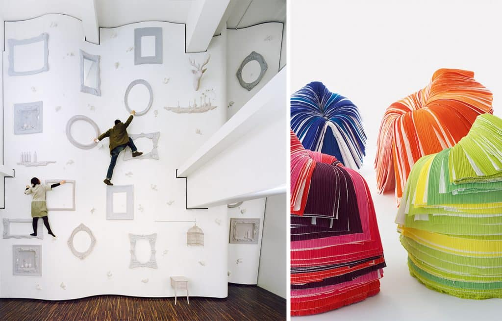 A high-fashion climbing wall in Tokyo designed by Nendo (left) and Nendo's signature Cabbage Chairs (right)