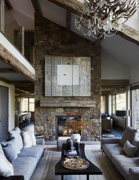WRJ Design Associates Jackson Hole Wyoming Rush Jenkins Klaus Baer living room stone fireplace Natural Elegance