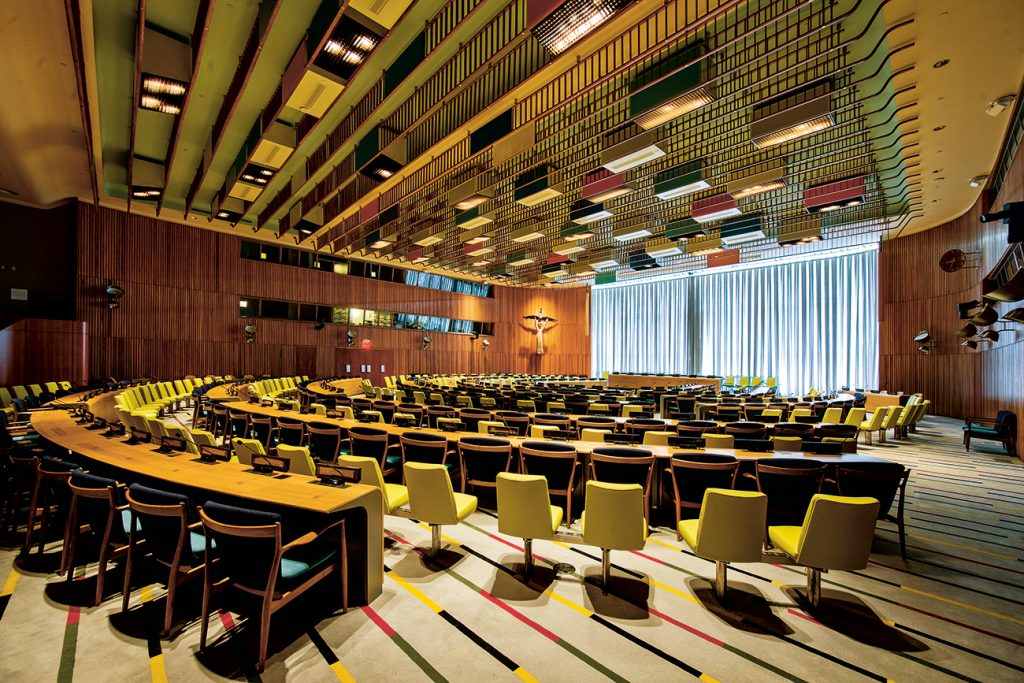 Interior of the United Nations Trusteeship Council chamber, designed by Juhl