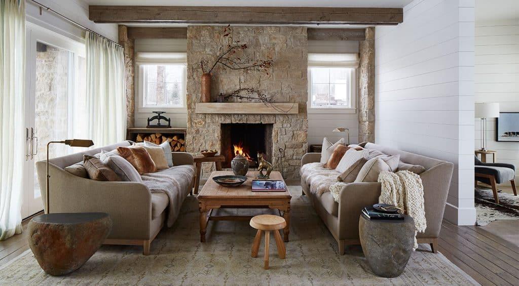 WRJ Design Associates Jackson Hole Wyoming Rush Jenkins Klaus Baer National Elk Refuge House living room stone fireplace Natural Elegance