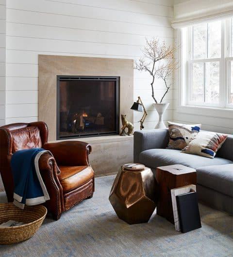 WRJ Design Associates Jackson Hole Wyoming Rush Jenkins Klaus Baer National Elk Refuge House family room fireplace club chair Natural Elegance
