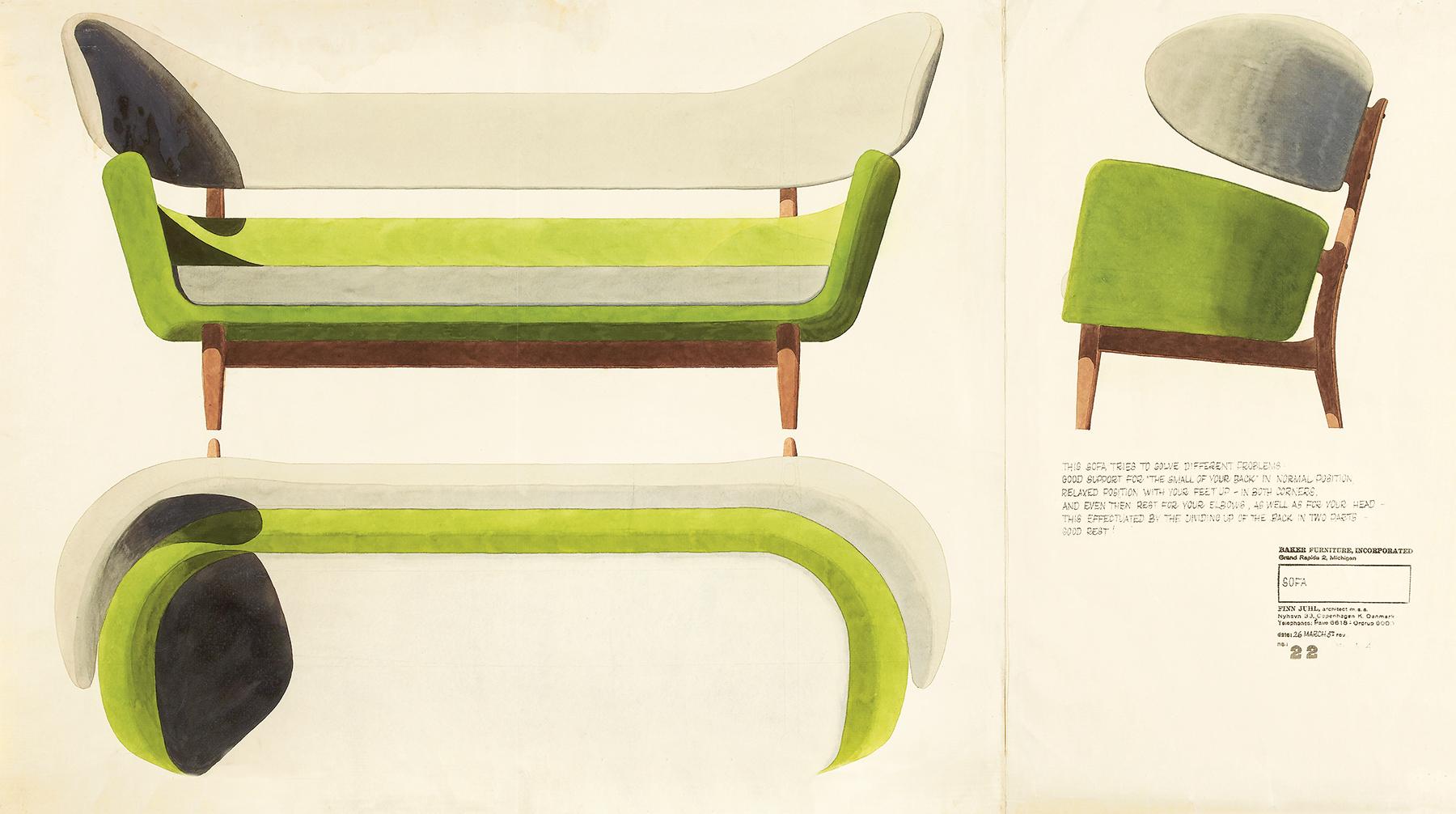 Juhl's designs for a 1957 sofa
