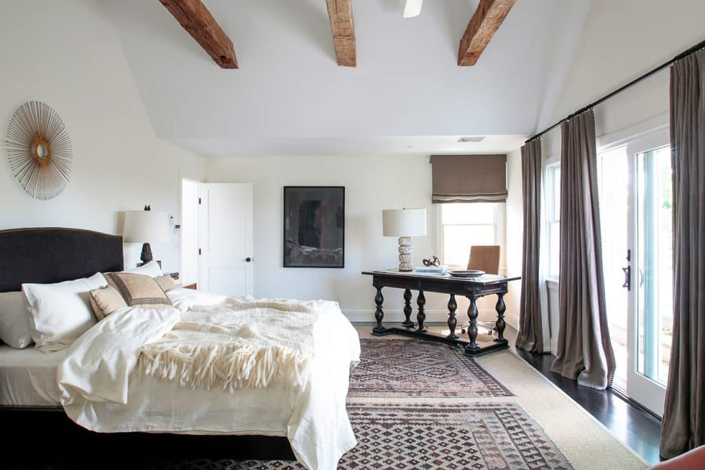 The master bedroom of a different Watermill property designed by Marie-Christine McNally